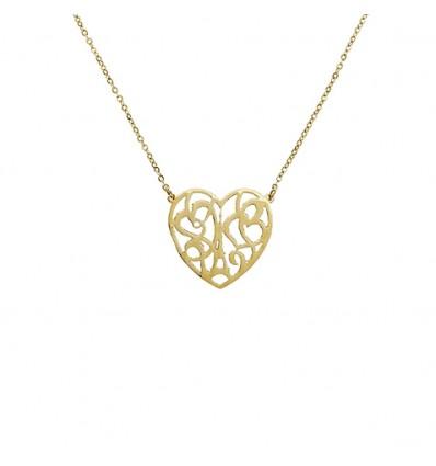 AGATHA ACIER HEART EIFFEL - Collier court, pendentif coeur _vid_, tour Eiffel et coeurs stylis_s DORE