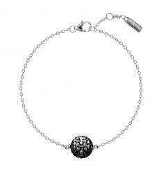 AGATHA BOULA - Bracelet souple, boule pavée sur céramique et chaîne maille forçat CRISTAL/ARGENTE
