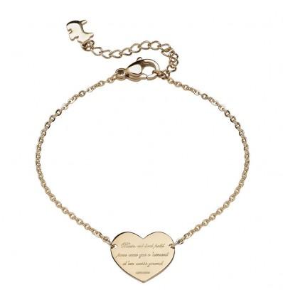 AGATHA SOUVENIR - Bracelet coeur sur chaîne, poème et tour Eiffel gravés DORE