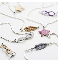VERY SISTERS COLLIER ARGENT PLUME GLITTER