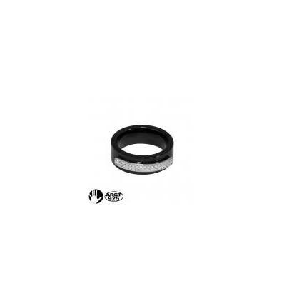 MW CERAMIC - Bague strass STRIPE noir
