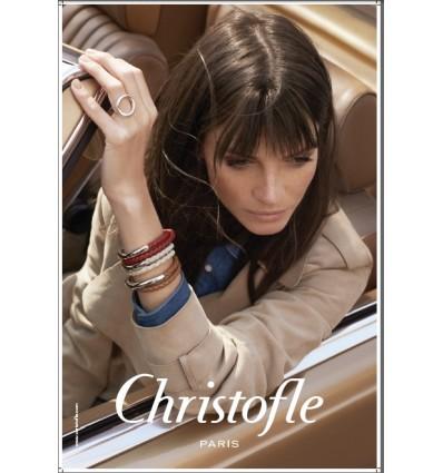 CHRISTOFLE DUO COMPLICE - BRACELET CUIR LARGE T3 BLEU  ARGENT MASSIF 925