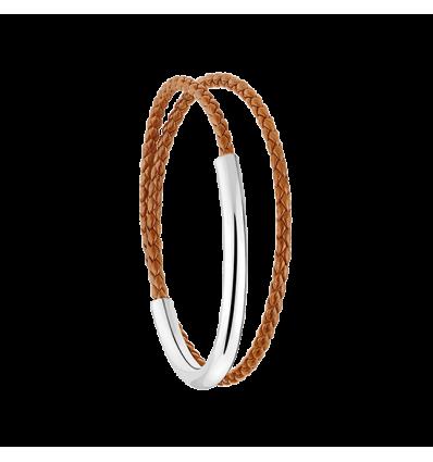 christofle duo complice bracelet cuir fin t1 caramel argent massif 925 my way. Black Bedroom Furniture Sets. Home Design Ideas