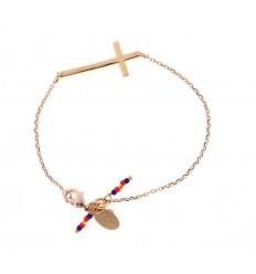 NILAI Bracelet Miyuki Croix PO Turquoise/Corail