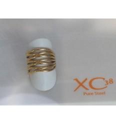 XC38 NEW AGE BAGUE ACIER PLAQUE OR JAUNE/argent