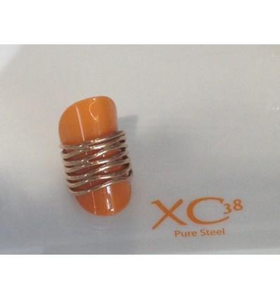 XC38 NEW AGE BAGUE ACIER PLAQUE OR ROSE