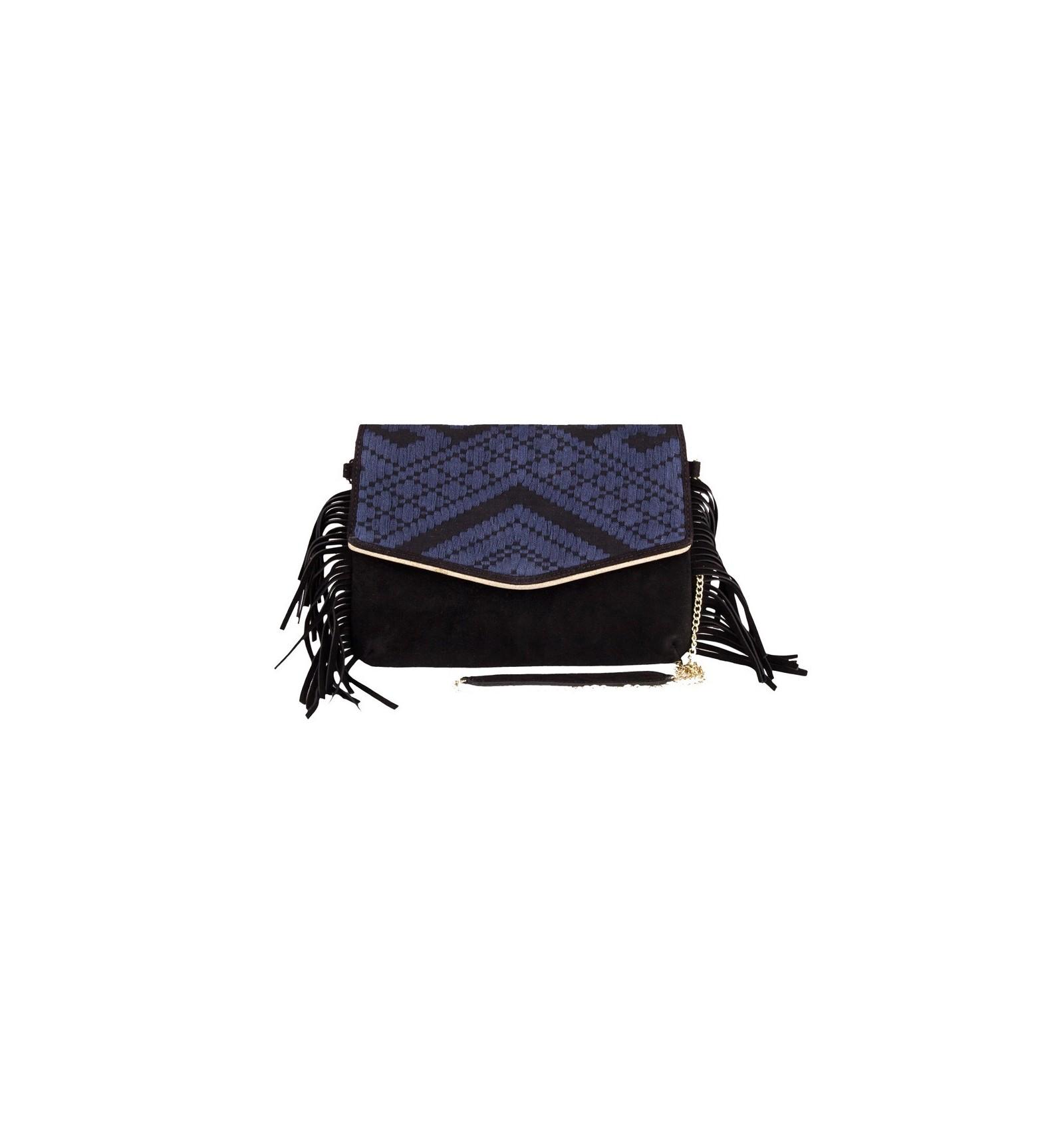 maradji sac pochette daphnee blue cuir vachette nucuck. Black Bedroom Furniture Sets. Home Design Ideas