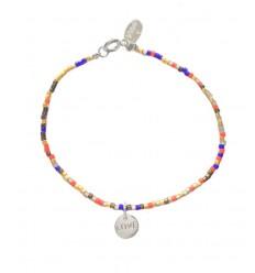 NILAI Bracelet Miyuki Charms Love Argent Rouge/Bleu