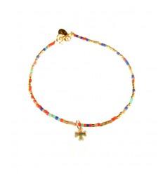 NILAI Bracelet Miyuki Charms Trefle PO Rouge /Bleu