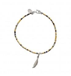 NILAI Bracelet Miyuki Charms Plume Argent Noir/Or
