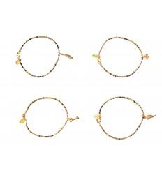 NILAI Bracelet Miyuki Charms Clef PO Noir / Or