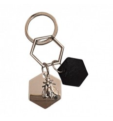 CHRISTOFLE MADISON 6 - PORTE CLES CHARMS METAL ARGENTE ET CUIR