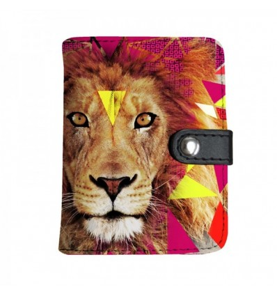 LAISSEZ LUCIE FAIRE - Porte-Cartes LION - 10x8cm PU/polyester 10 feuilles doubles