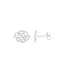 VANESSA TUGENDHAFT LA GARCONNE - fleur précieuse- BO CLOU DIAMANTS0.016 OR 375