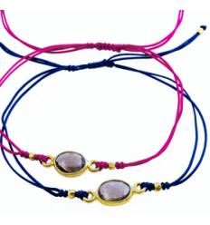 AZUNI CORDING - BRACELET FIL + GOLD PLATED SILVER CHARM