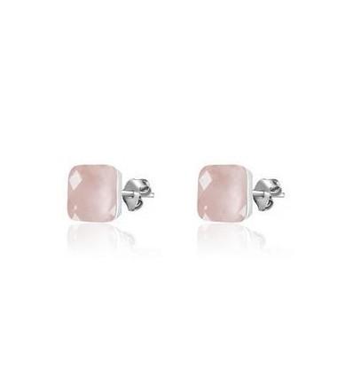 AGATHA Boucles d'oreilles puce pierre 50 % A , 50 % Qua