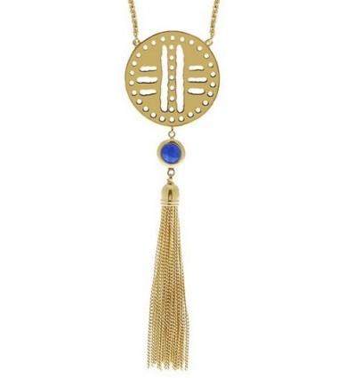 ''Feodora' Tassle Necklace: Gold Aqua