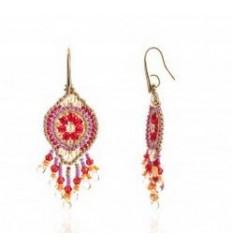 'Valdiva' Woven Earrings: Red, Orange, Mauve