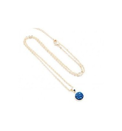 Elemental Druzy Round Pendant Necklace