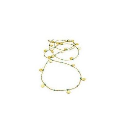 'Neferiti' Long Coin Necklace: Apatite