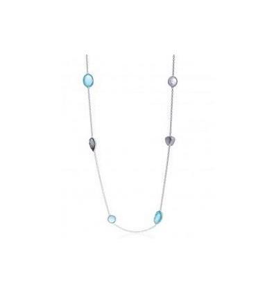'Penelope' Necklace: Silver, Aqua, Moonstone, Labradorite
