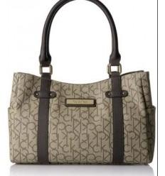 Calvin Klein Signature Hudson Monogram Satchel Bag Handbag Purse Brown NEW