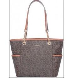 Calvin Klein Signature Monogram Tote Shoulder Bag Handbag Purse Blue NEW