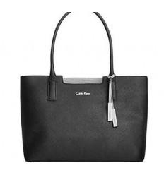Calvin Klein Womens Genuine Saffiano Leather Tote Shoulder Bag Black NEW