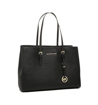 MICHAEL KORS JET SET TOTE LEATHER BLACK