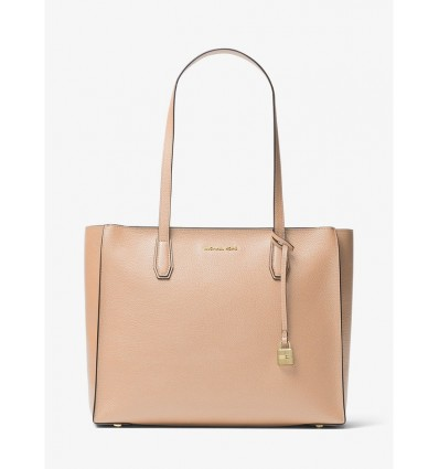 MICHAEL KORS Mercer Large Top-Zip Leather Tote OYSTER