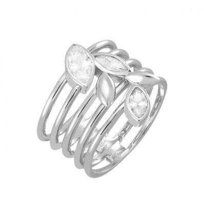 AGATHA Bague multi anneaux feuillage,cz
