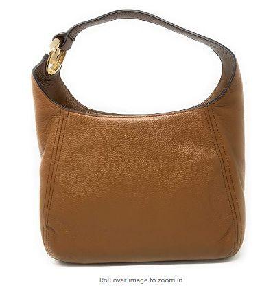 Michael Kors Fulton Hobo Shoulder Pebbled Leather Bag Brown Luggage